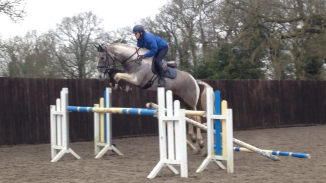 Fiona Davidson giving jump training to First Jockey Anna Gilbert